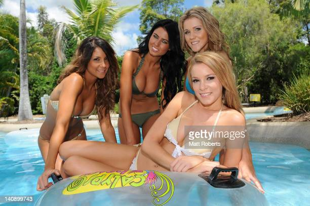 Anita Kovac from Melbourne Kristen Dee from Sydney Taryn Frencl from Bunbury and Bree Benyon from Townsville pose at the Miss Hawaiian Tropic...