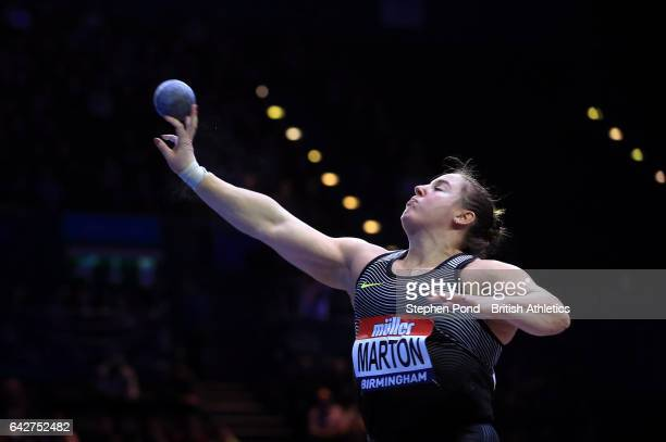 Anita Marton of Hungary in the womens shot put during the Muller Indoor Grand Prix 2017 at the Barclaycard Arena on February 18 2017 in Birmingham...