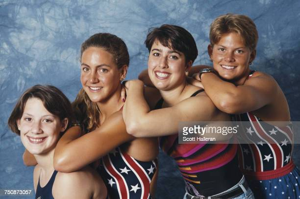 L R Anita Nall Summer Sanders Janet Evans and Nicole Haislett of the United States Women's Olympic swim team pose for a portrait together on 1 May...