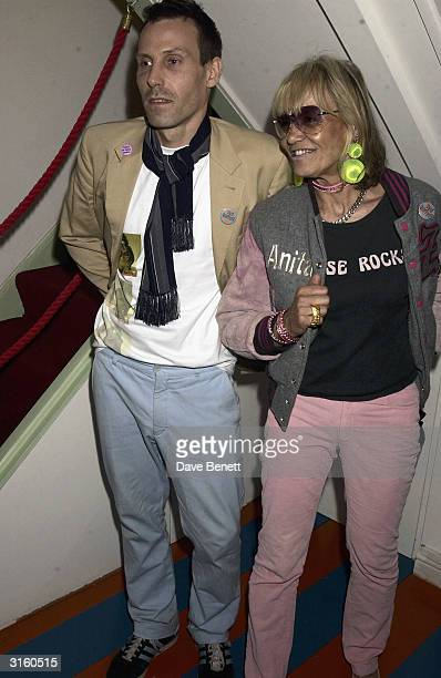 Anita Pallenberg and her son Marlon Richards attend the opening of Mick Rock's designer fashion label in 'Zoltan' in Soho London The shop owned by...