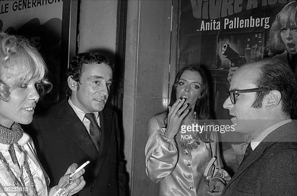 Anita Pallenberg German actress Louis Malle French filmmaker and Barbara Steele English actress at the premiere of the film of Volker Schloendorff...