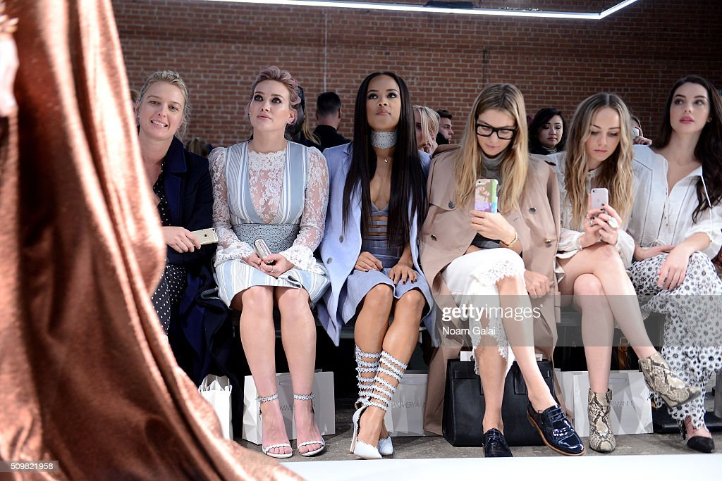 Anita Patrickson, Hillary Duff, <a gi-track='captionPersonalityLinkClicked' href=/galleries/search?phrase=Serayah+McNeill&family=editorial&specificpeople=13836114 ng-click='$event.stopPropagation()'>Serayah McNeill</a>, <a gi-track='captionPersonalityLinkClicked' href=/galleries/search?phrase=Jessica+Hart&family=editorial&specificpeople=4436555 ng-click='$event.stopPropagation()'>Jessica Hart</a>, <a gi-track='captionPersonalityLinkClicked' href=/galleries/search?phrase=Zella+Day&family=editorial&specificpeople=12939202 ng-click='$event.stopPropagation()'>Zella Day</a>, and <a gi-track='captionPersonalityLinkClicked' href=/galleries/search?phrase=Adelaide+Kane&family=editorial&specificpeople=1052995 ng-click='$event.stopPropagation()'>Adelaide Kane</a> attend Zimmermann Fall 2016 Runway Show at Art Beam on February 12, 2016 in New York City.