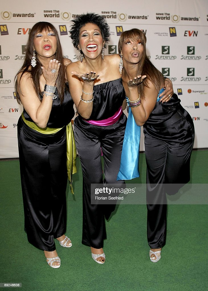 Anita Pointer Ruth Pointer and Issa Pointer of The Pointer Sisters attend the 'Save The World Awards' at the nuclear power station Zwentendorf on...