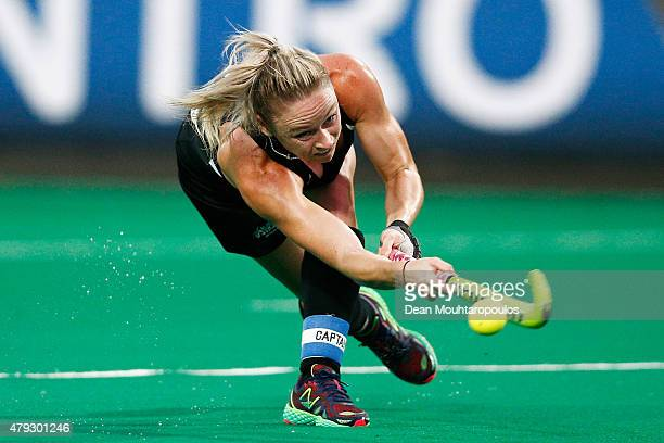 Anita Punt of New Zealand in action during the Fintro Hockey World League SemiFinal match between South Korea and New Zealand held at KHC Dragons...