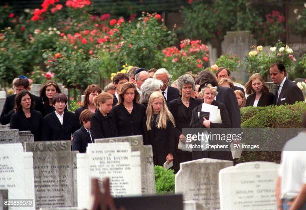 Anita Rothschild with her family attend the funeral of her husband the financier Amschel Rothschild who hanged himself in Paris last week Several...