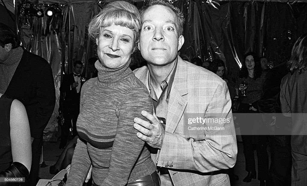Anita Sarko left and Fred Schneider of the B52's pose for a photo at the opening reception of the exhibit 'The Warhol Look Glamour Style Fashion' at...