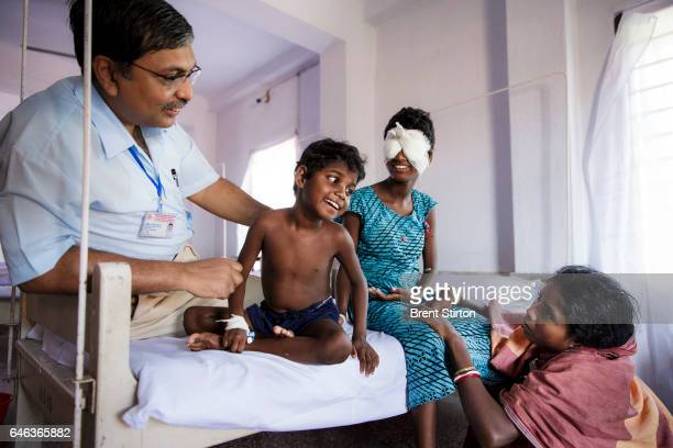 Anita Singh has her new eyes unveiled at Vivekananda mission hospital by surgeon Dr Asim Sil on September 23 2013 in West Bengal India It is Anita's...