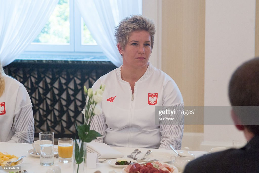 Anita Wlodarczyk during the meeting of Prime Minister of Poland Beata Szydlo with Olympic medalists from Rio in Warsaw Poland on 29 August 2016