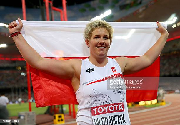Anita Wlodarczyk of Poland celebrates after winning gold in the Women's Hammer Final during day six of the 15th IAAF World Athletics Championships...
