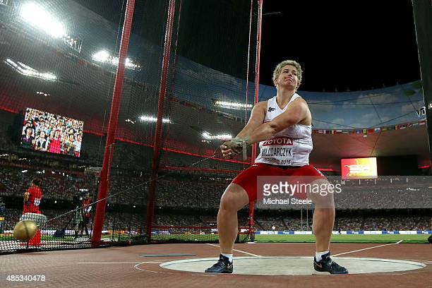 Anita Wlodarczyk of Poland competes in the Women's Hammer final during day six of the 15th IAAF World Athletics Championships Beijing 2015 at Beijing...