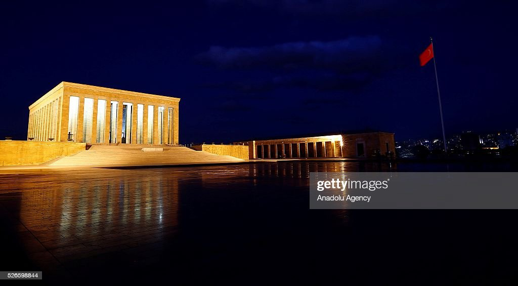 Anitkabir, mausoleum of Mustafa Kemal Ataturk, founder of the Republic of Turkey is seen in Ankara, Turkey on April 30, 2016.