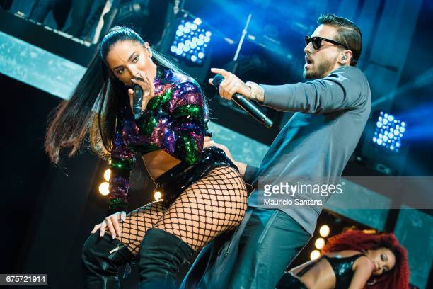 Anitta and Maluma perform live on stage at Espaco das Americas on April 30 2017 in Sao Paulo Brazil