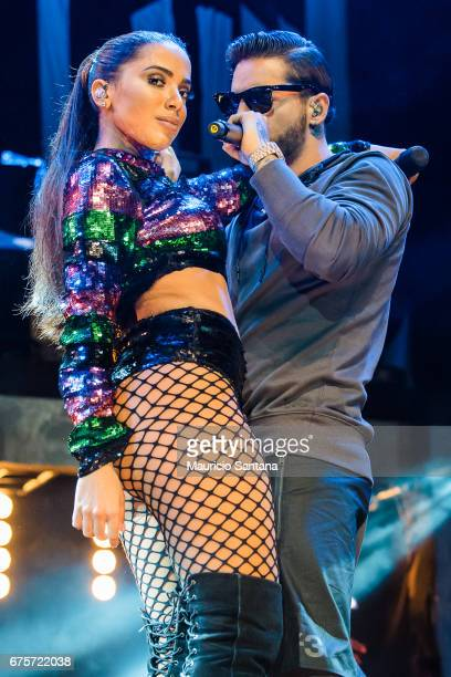 Anitta and Maluma performs live on stage at Espaco das Americas on April 30 2017 in Sao Paulo Brazil