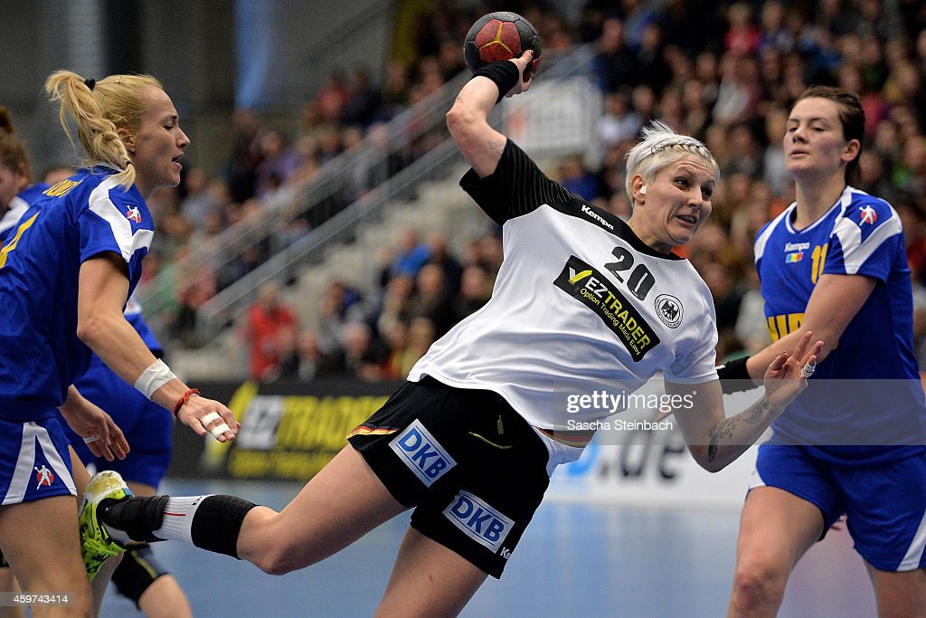 <a gi-track='captionPersonalityLinkClicked' href=/galleries/search?phrase=Anja+Althaus&family=editorial&specificpeople=2122906 ng-click='$event.stopPropagation()'>Anja Althaus</a> of Germany throws the ball during the women's handball international friendly match between Germany and Romania at Westpress Arena on November 30, 2014 in Hamm, Germany.