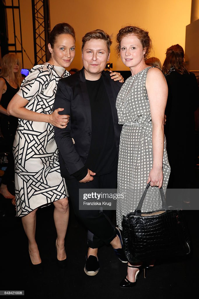 Anja Antonowitz, Dawid Tomaszewski and Jeanette Hain attend the Dawid Tomaszewski show during the Mercedes-Benz Fashion Week Berlin Spring/Summer 2017 at Stage at me Collectors Room on June 28, 2016 in Berlin, Germany.