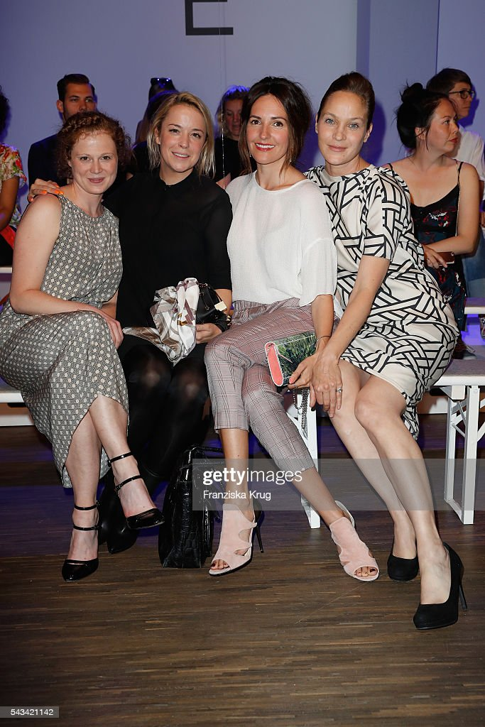 Anja Antonowitz, Marina Hoermanseder, Johanna Klum and Jeanette Hain attend the Dawid Tomaszewski show during the Mercedes-Benz Fashion Week Berlin Spring/Summer 2017 at Stage at me Collectors Room on June 28, 2016 in Berlin, Germany.