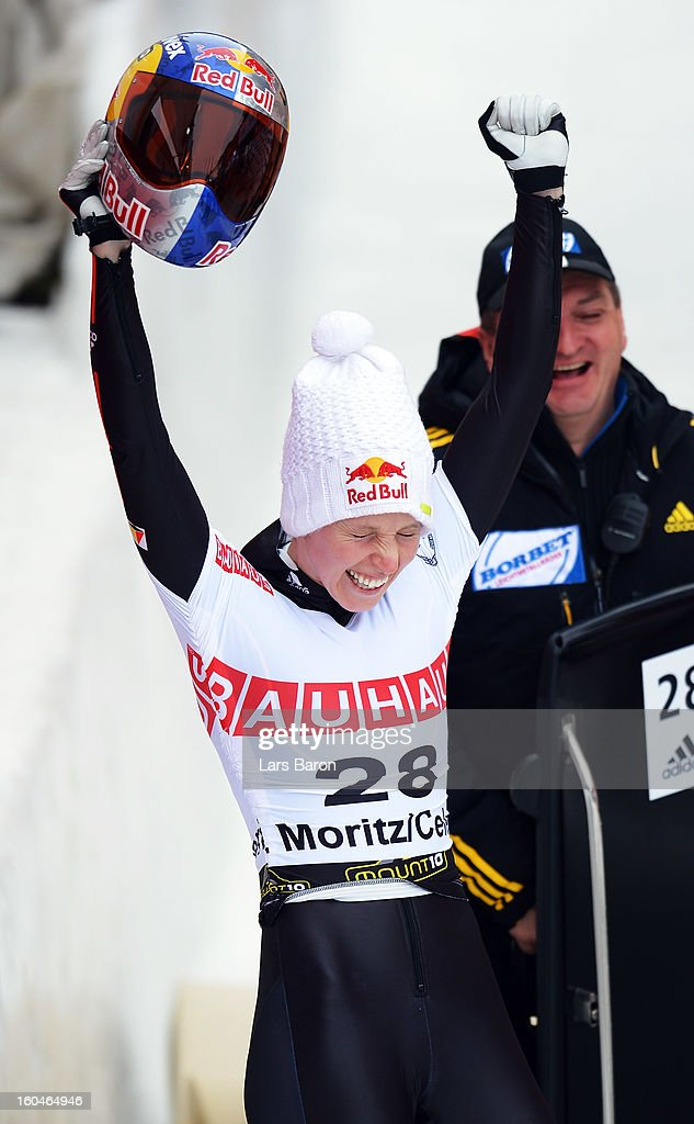 Anja Huber of Germany reacts after the women's skeleton final heat of the IBSF Bob & Skeleton World Championship at Olympia Bob Run on February 1, 2013 in St Moritz, Switzerland.