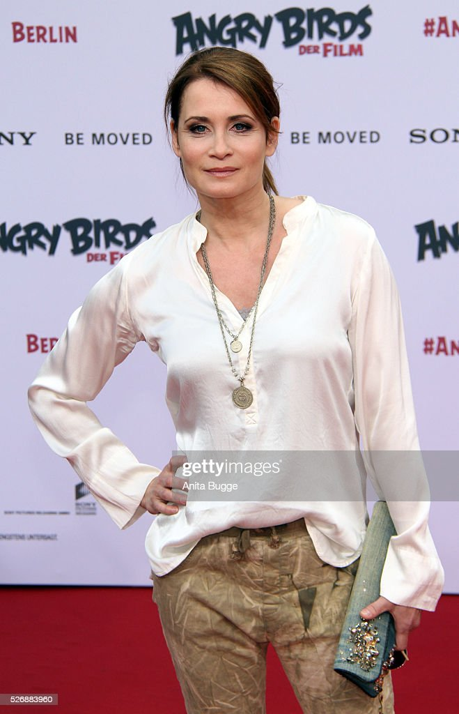 Anja Kling attends the Berlin premiere of the film 'Angry Birds - Der Film' at CineStar on May 1, 2016 in Berlin, Germany.