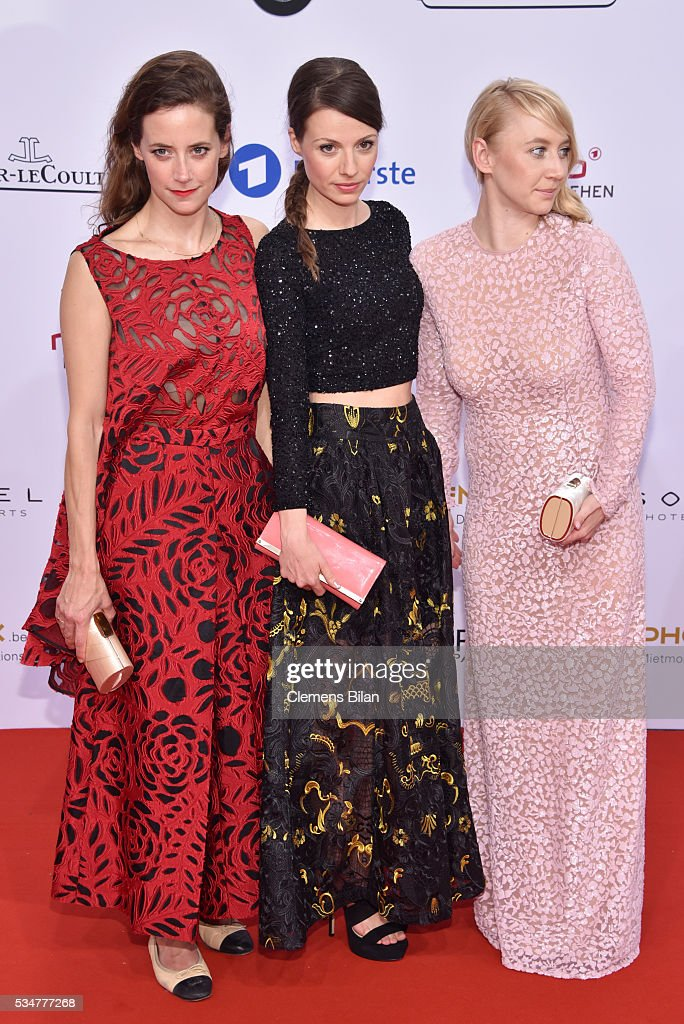 Anja Knauer, Julia Hartmann and <a gi-track='captionPersonalityLinkClicked' href=/galleries/search?phrase=Anna+Maria+M%C3%BChe&family=editorial&specificpeople=6716701 ng-click='$event.stopPropagation()'>Anna Maria Mühe</a> attend the Lola - German Film Award (Deutscher Filmpreis) on May 27, 2016 in Berlin, Germany.