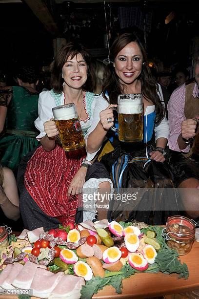 Anja Kruse and Simone Thomalla attend the second evening at the Kaefer at the Oktoberfest 2010 at Theresienwiese on September 19 2010 in Munich...