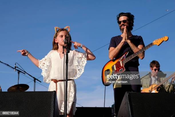 Anja Louise Ambrosio Mazur performs with Devendra Banhart on the Outdoor Theatre during day 3 of the Coachella Valley Music And Arts Festival at the...