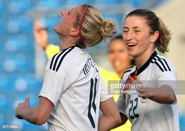 Anja Mittag and Bianca Schmidt of Germany celebrate the goal during the Woman Algarve Cup match between Germany and China at the Estadio Algarve on...