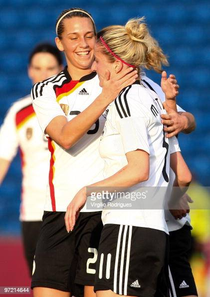 Anja Mittag and Lena Goebling of Germany celebrate the goal during the Woman Algarve Cup match between Germany and China at the Estadio Algarve on...