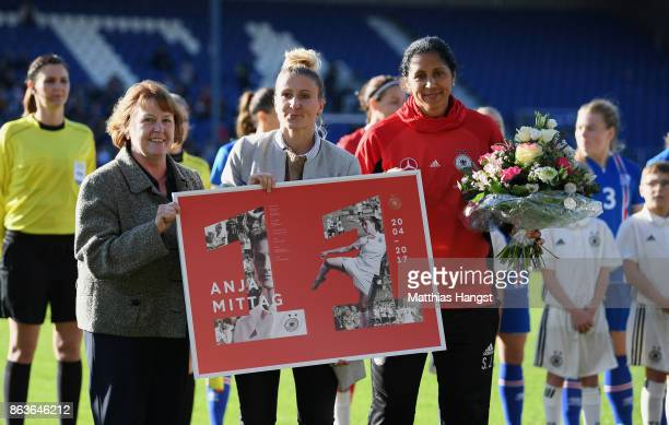 Anja Mittag is honored by DFB Vice President Hannelore Ratzeburg during her farewell ceremony prior to the 2019 FIFA Women's World Championship...