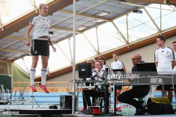 Anja Mittag jumps during a Germany women's national team performance test on April 7 2014 in Mannheim Germany