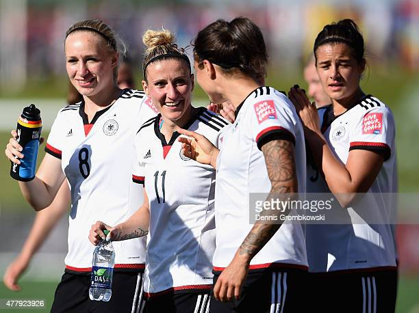 Anja Mittag of Germany celebrates with team mates after the FIFA Women's World Cup Canada 2015 Round of 16 match between Germany and Sweden at...