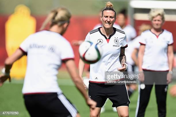 Anja Mittag of Germany looks on during a training session at Waverley Soccer Complex on June 13 2015 in Winnipeg Canada