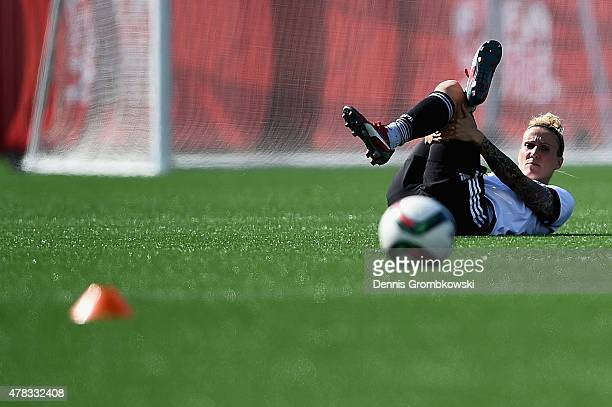Anja Mittag of Germany practices during a training session at Stade de Montreal on June 24 2015 in Montreal Canada
