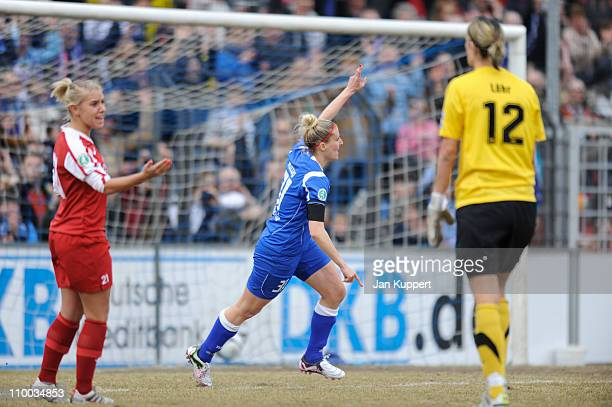 Anja Mittag of Potsdam celebrates the second goal during the Women Bundesliga match between Turbine Potsdam and EssenSchoenebeck at the...