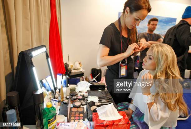 Anja Nissen from Denmark is preparing to perform at the rehearsal for the Grand Final of the Eurovision Song Contest in Kiev Ukraine 12 May 2017 The...