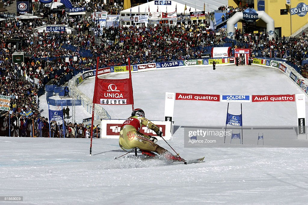 Anja Paerson of Sweden skis toward the finish line during the Women's Giant Slalom during the FIS Alpine Ski World Cup on October 23, 2004 in Soelden, Austria. Paerson finished in first place.