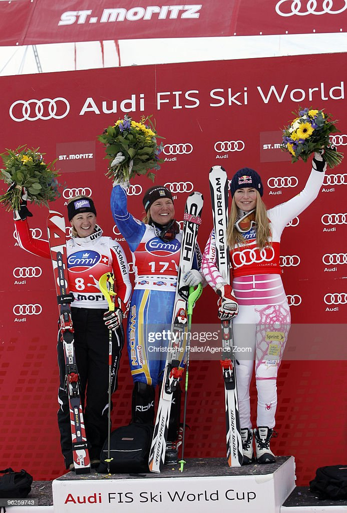 <a gi-track='captionPersonalityLinkClicked' href=/galleries/search?phrase=Anja+Paerson&family=editorial&specificpeople=201984 ng-click='$event.stopPropagation()'>Anja Paerson</a> of Sweden takes 1st place, <a gi-track='captionPersonalityLinkClicked' href=/galleries/search?phrase=Michaela+Kirchgasser&family=editorial&specificpeople=722582 ng-click='$event.stopPropagation()'>Michaela Kirchgasser</a> of Austria takes 2nd place, <a gi-track='captionPersonalityLinkClicked' href=/galleries/search?phrase=Lindsey+Vonn&family=editorial&specificpeople=4668171 ng-click='$event.stopPropagation()'>Lindsey Vonn</a> of the USA takes 3rd place during the Audi FIS Alpine Ski World Cup Women's Super Combined on January 29, 2010 in St.Moritz, Switzerland.