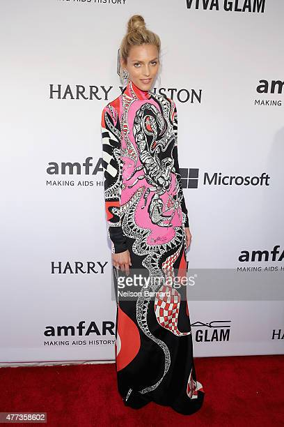 Anja Rubik attends the 2015 amfAR Inspiration Gala New York at Spring Studios on June 16 2015 in New York City