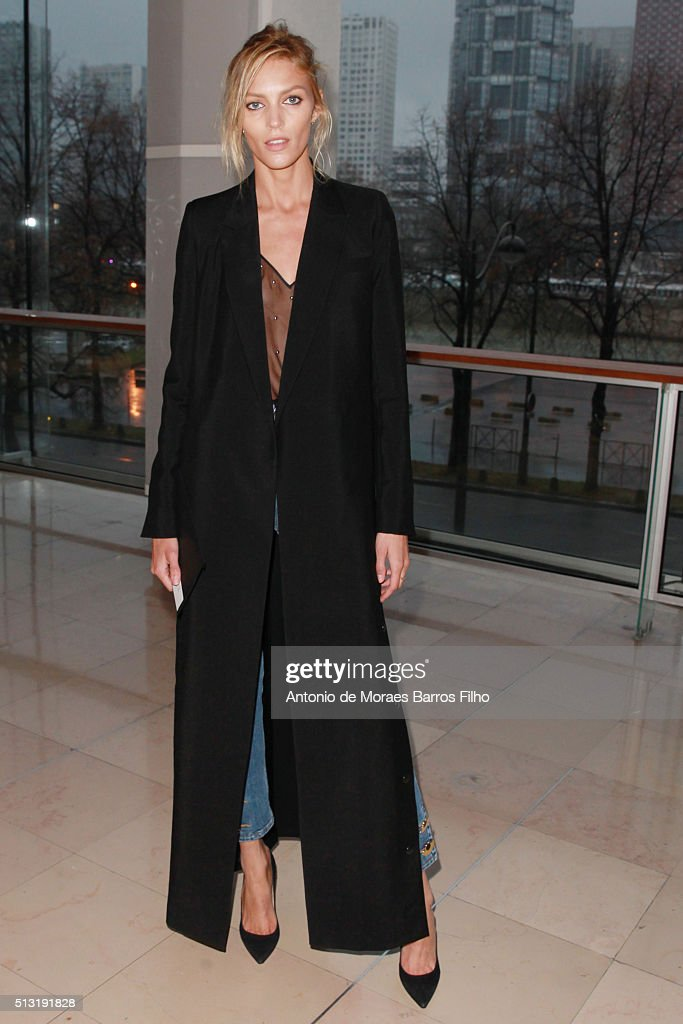 Anja Rubik attends the Anthony Vaccarello show as part of the Paris Fashion Week Womenswear Fall/Winter 2016/2017 on March 1 2016 in Paris France