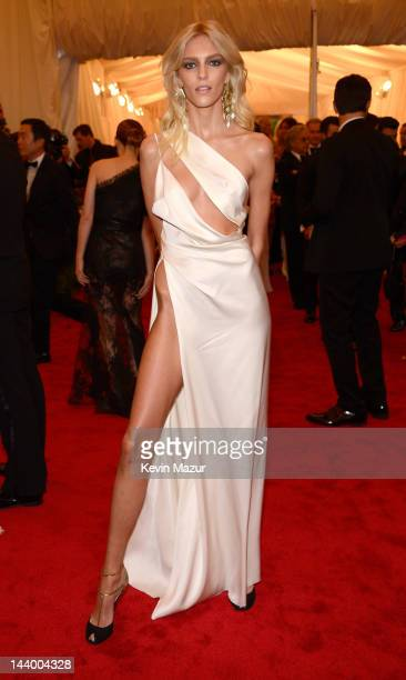 Anja Rubik attends the 'Schiaparelli And Prada Impossible Conversations' Costume Institute Gala at the Metropolitan Museum of Art on May 7 2012 in...