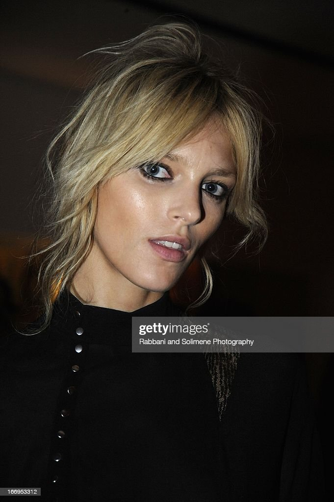 <a gi-track='captionPersonalityLinkClicked' href=/galleries/search?phrase=Anja+Rubik&family=editorial&specificpeople=4341980 ng-click='$event.stopPropagation()'>Anja Rubik</a> attends the Stefano Tonchi Celebrates W Magazine's Modern Beauty Issue Honoring Tilda Swinton at the Perry Street Restaurant on April 18, 2013 in New York City.