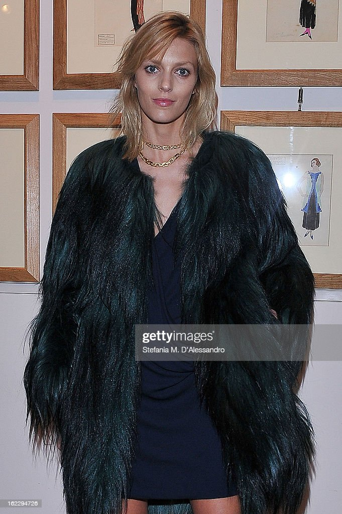 <a gi-track='captionPersonalityLinkClicked' href=/galleries/search?phrase=Anja+Rubik&family=editorial&specificpeople=4341980 ng-click='$event.stopPropagation()'>Anja Rubik</a> attends W And Vionnet Hosts The Thayaht Exhibition on February 21, 2013 in Milan, Italy.