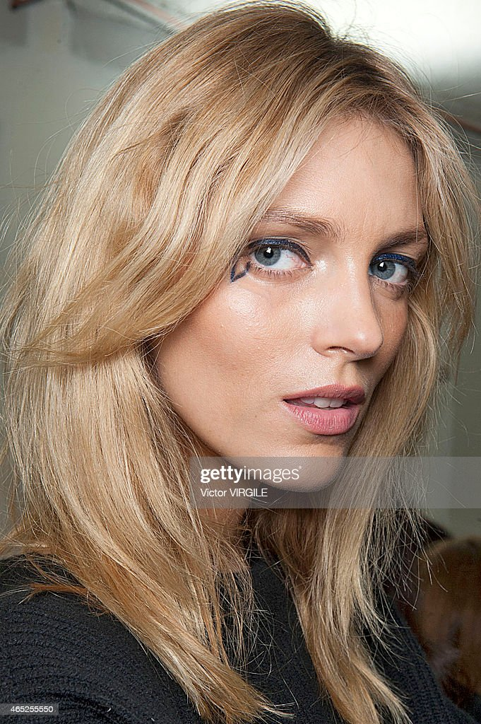 Anja Rubik backstage during the Anthony Vaccarello show as part of the Paris Fashion Week Womenswear Fall/Winter 2015/2016 on March 3 2015 in Paris...