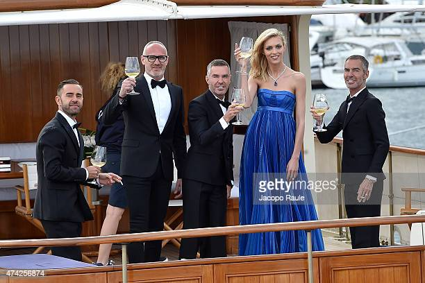Anja Rubik Dan Caten Dean Caten and Giacomo Nicolodi are seen on day 9 of the 68th annual Cannes Film Festival on May 21 2015 in Cannes France