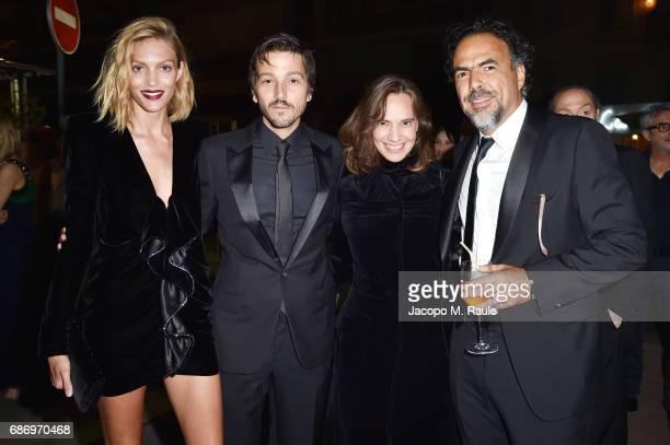 Anja Rubik Diego Luna Daniela Michel and Alejandro Gonzalez Inarritu attend Fondazione Prada Private Dinner during the 70th annual Cannes Film...