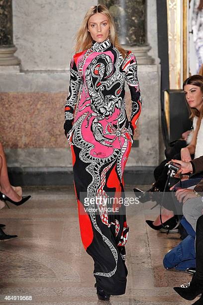 Anja Rubik walks the runway at the Emilio Pucci show during the Milan Fashion Week Autumn/Winter 2015 on February 28 2015 in Milan Italy