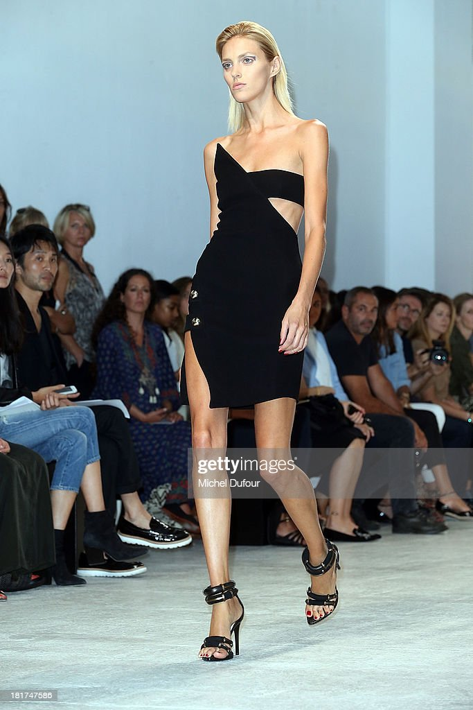 <a gi-track='captionPersonalityLinkClicked' href=/galleries/search?phrase=Anja+Rubik&family=editorial&specificpeople=4341980 ng-click='$event.stopPropagation()'>Anja Rubik</a> walks the runway during Anthony Vaccarello show as part of the Paris Fashion Week Womenswear Spring/Summer 2014 on September 24, 2013 in Paris, France.