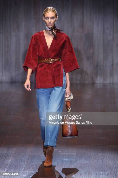 Anja Rubik walks the runway during the Gucci show as a part of Milan Fashion Week Womenswear Spring/Summer 2015 on September 17 2014 in Milan Italy