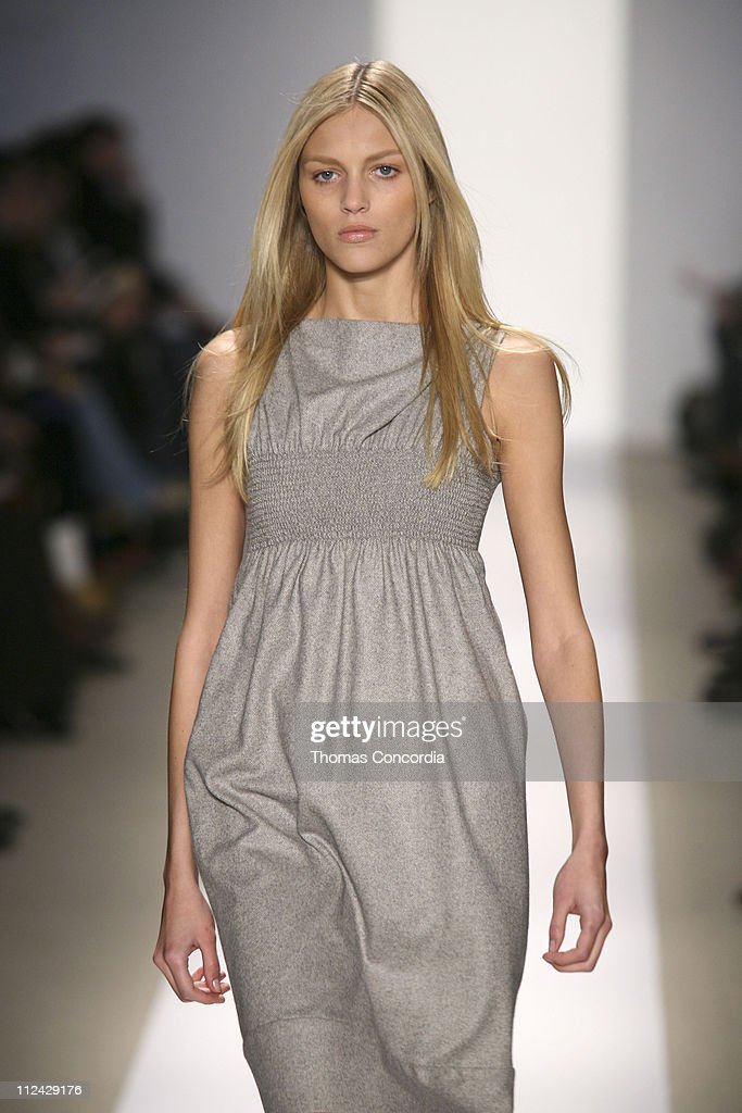 Anja Rubik wearing Luca Luca Fall 2006 during Olympus Fashion Week Fall 2006 Luca Luca Runway at Bryant Park in New York City New York United States