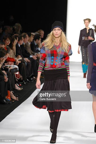 Anja Rubik wearing Marc by Marc Jacobs Fall 2005 during Olympus Fashion Week Fall 2005 Marc by Marc Jacobs Runway at New York State Armory in New...