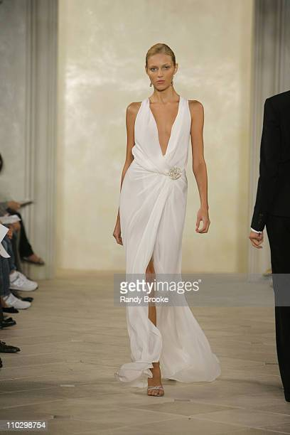 Anja Rubik wearing Ralph Lauren Spring 2007 during Olympus Fashion Week Spring 2007 Ralph Lauren Runway at Skylight Studios in New York City New York...